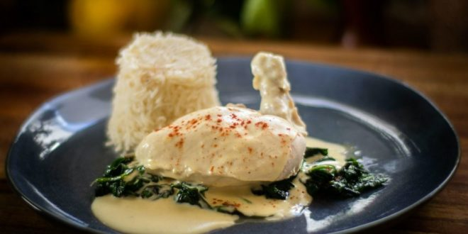 Κοτόπουλο με σάλτσα κρεμμυδιού σπανάκι και πιλάφι! - BORO από την ΑΝΝΑ ΔΡΟΥΖΑ